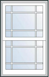 Prairie double hung window grille