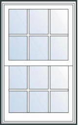 Colonial double hung window grille